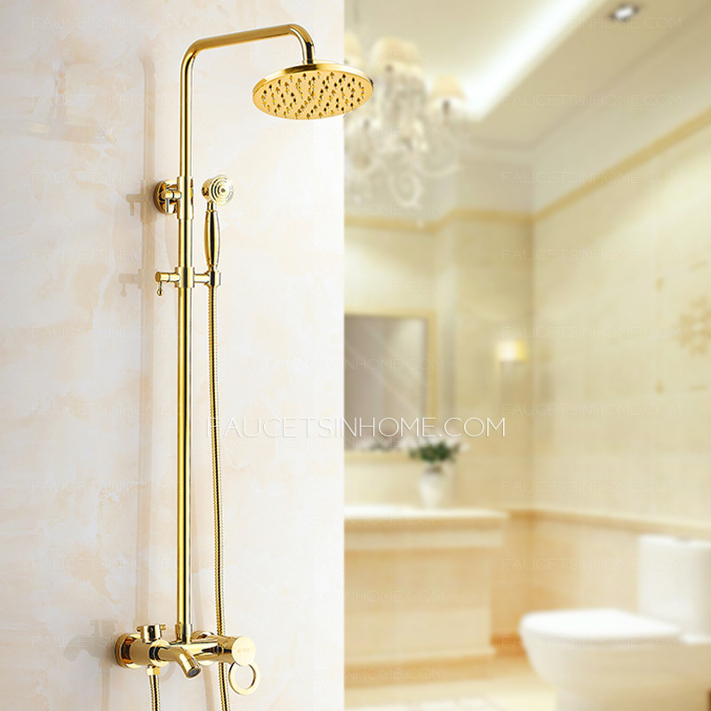 antique gold exposed brass wall mount shower faucet ftsih150414080948